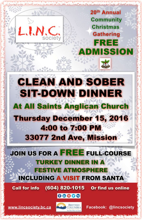 2016 LINC Clean & Sober Sit-Down Turkey Dinner, Mission, BC